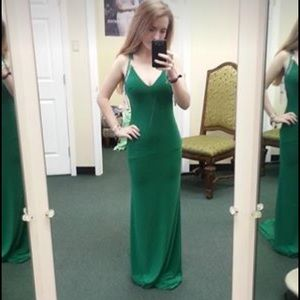 Green Tony Bowls prom dress